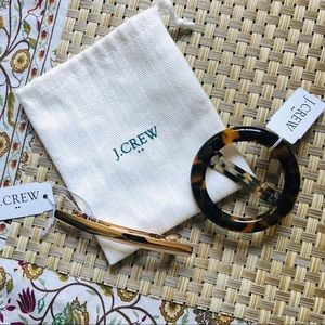 J.CREW set of two barrettes-tortoise-gold NEW